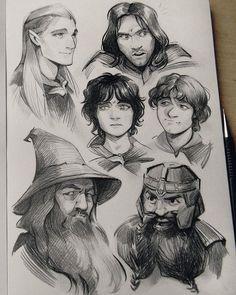Legolas, Aragorn, Frodo, Samwise, Gandalf, and Gimli...