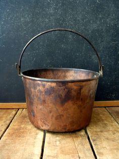 Antique Copper Kettle Antique Copper Bucket by RiverHouseDesigns