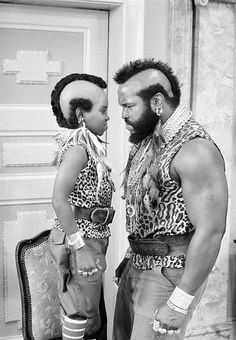 "Sept. 11, 1983. NBC, Gary Coleman, star of television's ""Diff'rent Strokes,"" exchanges views with Mr. T, star of ""The A-Team,"" during a break in the taping of a ""Different Strokes"" episode at the Universal Studios near Burbank, Calif."