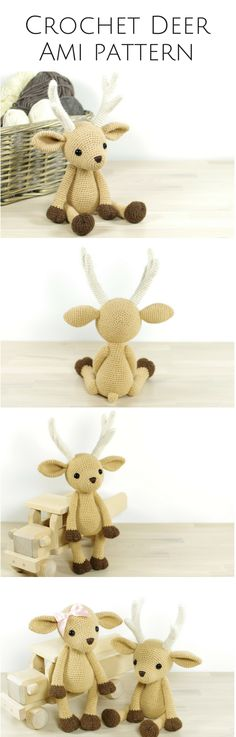 Crochet deer with moving limbs! I love how she made the limbs move rather than fixed in one position. These antlers are so well done too ! Afflink