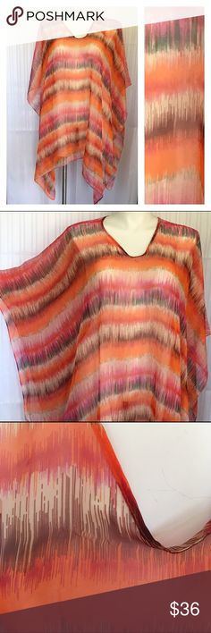 Orange & pink stripe swim/beach cover up/tunic top Orange & pink stripe swim/beach cover up/flowing tunic top with green, brown & cream accents. Excellent used condition aside from a few small snags around the neck area (see 3rd pic). Plus free size from Catherine's. 100% polyester. No holds No Lowball Offers No Trades ✅Please submit reasonable offers via the offer button or  bundle & save! Catherines Tops Tunics