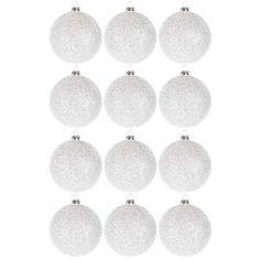 White Glitter Ball Ornaments
