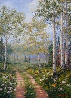 A drit road parts an aspen forest blanketed by daisies and other wildflowers. Available up to 36 x 48.. Original Painting