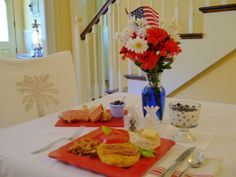 "Summer holidays in #Savannah #Georgia #USA ... patriotic breakfast at Green Palm Inn, a star in Savannah tourism and a top pick bed and breakfast showcasing ""The Softer Side of Savannah"" -- © Green Palm Inn / Sandy Traub"
