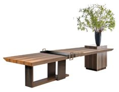 Furniture Projects, Table Furniture, Modern Furniture, Table Desk, Dining Bench, Communal Table, Interior Styling, Interior Design, Reception Counter