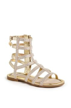 Gold and sparkly gladiator sandals for spring.
