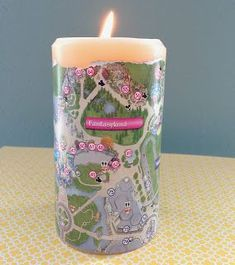 abfb0d9056f Disney Park Map Candle - what a cool thing to do with your old park maps