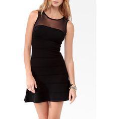 Mesh Trimmed Mini Dress ($16) ❤ liked on Polyvore featuring dresses, mesh bodycon dress, bodycon dress, body con dress, bandage dress and short bodycon dresses
