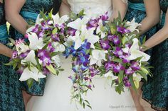 blue white and purple orchid and lily bridal bouquet  #thebloomingwillow