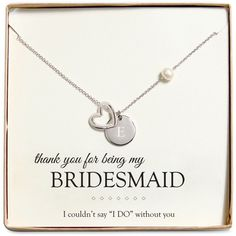 Cathy's Concepts Personalized Bridesmaid Necklace ($36) ❤ liked on Polyvore featuring jewelry, necklaces, e, initial jewelry, heart charm, initial charms, initial necklace and engraved heart charm