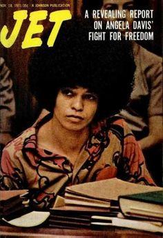 """ Angela Davis on the cover of Jet magazine, November "" Jet Magazine, Black Magazine, Angela Davis, Ebony Magazine Cover, Magazine Covers, Dark Man, Alabama, John Johnson, Black Panther Party"