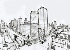 2 Point Perspective Drawing | Perspective Drawing Of A City By Actionjdjackson…