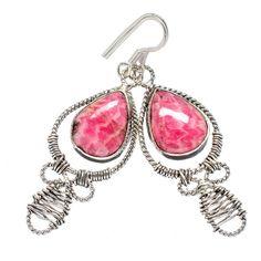 """Rhodochrosite 925 Sterling Silver Earrings 2 1/4"""" EARR334930"""