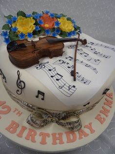 Violin 02 pre-cut Edible Icing Cake Topper or Ribbon Easy to use