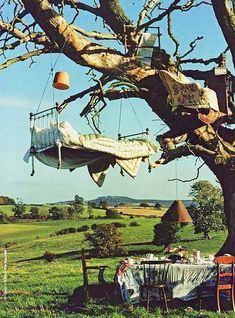 Tree Bed, Great Britain photo by Tim Walker ! Glamping, Alice In Wonderland, Fairy Tales, Beautiful Places, Scenery, In This Moment, Nature, Pictures, Outdoor Living
