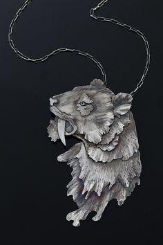 Tiger silver pendant. Silver animals   Tygrys szablozębny - srebrny wisior   Marta Norenberg Sztuk Kilka   Poland