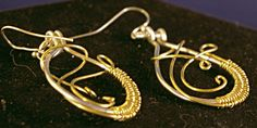 Silver with Brass Wire Wrap Swoop Earrings by MLRanchJewelry on Etsy