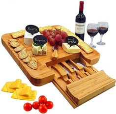 Amazon.com | Bamboo Cheese Board & Cutlery Set with Slide-Out Drawer, 4 Stainless Steel Knife, Wood Platter & Serving Tray. Includes 3 Label & Chalk, Perfect for Birthday, Engagement, Housewarming & Wedding Gifts: Cheese Servers Meat Trays, Food Serving Trays, Charcuterie Plate, Easy S, Unique Gifts For Mom, Cheese Lover, Cheese Platters, Cutlery Set, Hostess Gifts