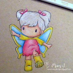 Coloring hair with pencils on kraft