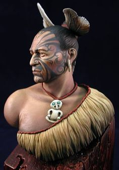 Maori Warrior painted by RobertRamirez  Moko and Hair Ref. Adornment and Feather Ref