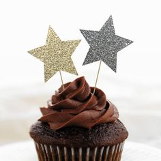 Instant Download - Faux Glitter Star Cupcake and Cake Toppers - Star Decorations - New Years Eve Decoration - DIY