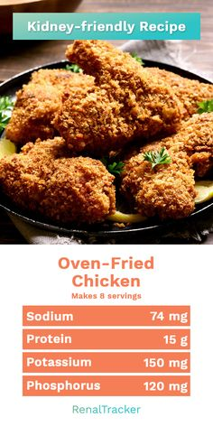 Try baking your poultry in the oven with this simple recipe for a different experience in taste. Start delaying dialysis by knowing what kidney foods to eat and controlling your nu Sodium Free Recipes, Low Potassium Recipes, Low Salt Recipes, Low Sodium Foods, Diet Recipes, Chicken Recipes Low Sodium, Low Salt Meals, Low Sodium Soup, Recipies