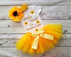 Newborn Coming Home Outfit, Girls Coming Home Outfit, Newborn Girl Outfits, Baby Boy Newborn, Sunflower Headband, Yellow Tutu, Baby Girl Halloween, Baby Shower Princess, Cute Baby Clothes
