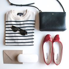 stripe top, repetto flats, outfit
