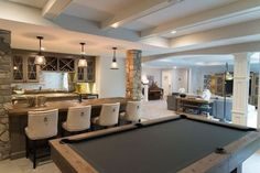 Browse photos of Basement Rec Room. Find ideas and inspiration for Basement Rec Room to add to your own home. See more ideas about Game room basement, Game room and Finished basement bars. Game Room Basement, Basement Layout, Walkout Basement, Basement Plans, Basement Bathroom, Modern Basement, Basement House, Basement Systems, Rustic Basement