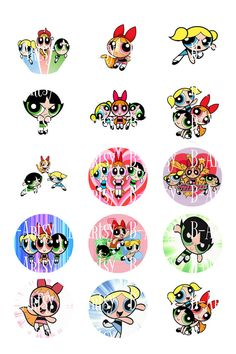 Power Puff Girls Bottle Cap Images, Inspired Power Puff Girls Instant Download