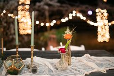 Boho Wedding CFEC Decor: Bud Vases, Gold Candlestick Holders, Geometric terrarium, Clear votive, Cheesecloth P. Candlestick Holders, Candlesticks, Cheesecloth, Tree Lighting, Twinkle Lights, Bud Vases, Terrarium, Boho Wedding, Wedding Styles