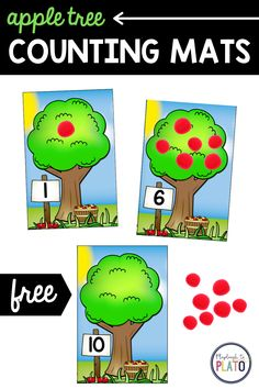 FREE Apple Tree Counting Mats. These are perfect for fall! Such a fun way to work on number recognition and counting. Pre k and kindergarten kids will love working on their number sense with these engaging number mats. These would make a great math center or small group activity. #numbersense #numbers #appleactivities #mathcenters Preschool 2 Year Old, Numbers Preschool, Toddler Preschool, Toddler Activities, Apple Activities, Small Group Activities, Autumn Activities, Literacy Activities, Tree Life Cycle