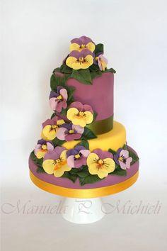 Spring Cake with sugar  pansies ~ all edible