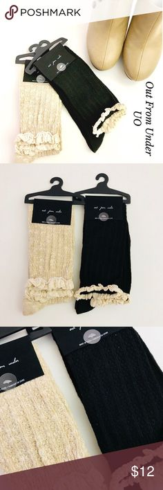 URBAN OUTFITTERS OUT FROM UNDER KNEE HIGH SOCKS NWT. Beautiful Bundle of two High Knees Boots Sock featuring a lovely crochet lace peek over the top. Perfect to wear with boots and leggings. Original Price $14 each one. Line tag to prevent store returns. Bundle and save. Feel free to ask me any questions. Urban Outfitters Accessories Hosiery & Socks