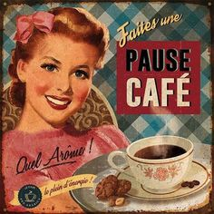 Pause café Art Print by Bruno Pozzo Art com is part of Decoupage vintage - Pause café Art Print by Bruno Pozzo Find art you love and shop highquality art prints, photographs, framed artworks and posters at Art com satisfaction guaranteed Decoupage Vintage, Decoupage Paper, Images Vintage, Vintage Pictures, Vintage Cafe, Retro Vintage, Vintage Food, Vintage Prints, Vintage Posters