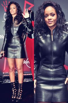 Rihanna wearing a minimalist leather jacket with A-Line leather skirt.