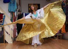 Isiswings effen goud lamé - Wings of Isis gold lamé fabric   Isiswings   buikdanswinkel-webshop