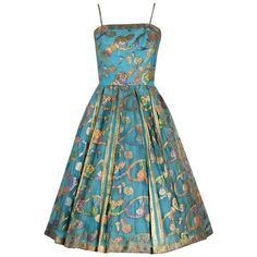 1950's Sophie Gimbel Metallic Turquoise Paisley Indian-Silk Full Party Dress   1stdibs.com