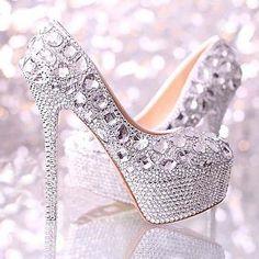 Sparkly Silver Handmade Diamond Bead Rhinestone Wedding Bridal Shoes High Heels #sparkly #glitter #rhinestone