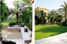 A lush and linear garden in Arabian Ranches in Dubai... To read about it, click here: http://gulfnews.com/life-style/home-interiors/arabian-ranches-garden-balances-the-lush-with-linear-1.1033029#