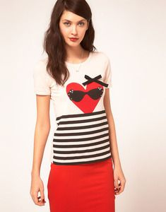 Heart and stripe t-shirt from Sonia by Sonia Rykiel. Crafted in a cotton and wool blend woven jersey fabric. Featuring a round neckline with a reinforced trim, short sleeve styling, a heart print with embellished sunglasses and an applique grosgrain bow trim, and contrast stripes from the waist.