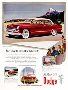 171 best dodge 1950 1955 images on pinterest antique cars 1953 dodge coronet v eight advertising art classic cars mount shasta art collectible print ads publicscrutiny Choice Image