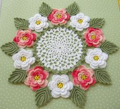 Pink Ring of Roses Crocheted Doily