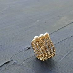 Crocheted wire gold ring with pearls custom by Yoola on Etsy, $47.00