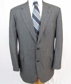 Brooks Brothers 1818 Madison Blazer 44R Nailhead Gray Wool Vented Sport Coat #BrooksBrothers #TwoButton