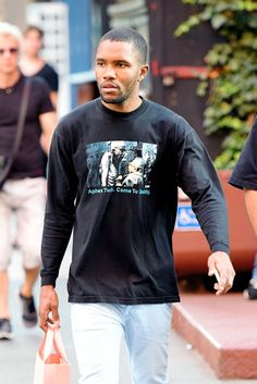 Frank Ocean wearing  Vintage 1990s Aphex Twin Come To Daddy T-Shirt