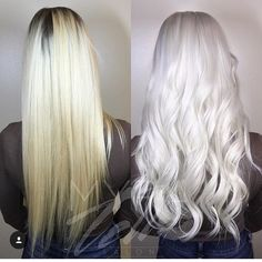 My before and after. Icy platinum blonde.