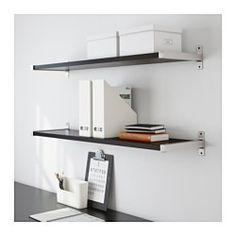 "IKEA - EKBY JÄRPEN / EKBY BJÄRNUM, Wall shelf, birch veneer/aluminum, 46 7/8 "", , The bracket covers the edge of the shelf so you can cut the shelf without the cut edge showing."