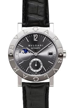 Certified Pre-Owned Bulgari-Bulgari Moonphase Watch - BBW38GLMP. Round 18k white gold case (38mm diameter, 9.2mm thickness), alligator strap with 18kt white gold tang buckle, grey dial with white gold hands and hour markers, moonphase indication, date calendar, self-winding movement with 42 hour power reserve, scratch-resistant sapphire crystal.