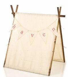 Burlap children's tent! Fabulous find!
